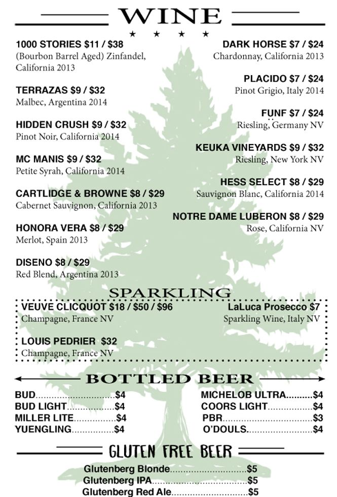 Wines, Cocktails, and Bottled Beers